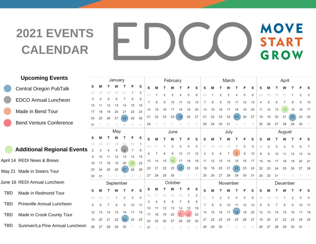 EDCO 2021 events calendar